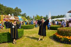 Congratulation new gradustes. Stock Photo