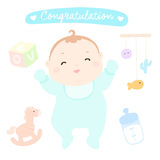 Congratulation new happy baby boy  Royalty Free Stock Images