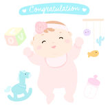 Congratulation new happy baby girl  Stock Photo