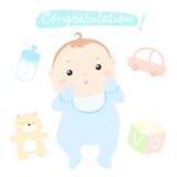 Congratulation new little baby boy. Illustration Stock Image