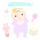 Congratulation new little baby girl. Illustration Royalty Free Stock Photography