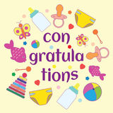 Congratulation with a newborn. Vector illustration, poster, postcard Stock Image