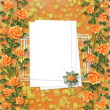 Congratulation with painting rose Stock Images