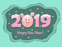Greeting card for 2019. Happy New Year. Vector illustration. stock illustration