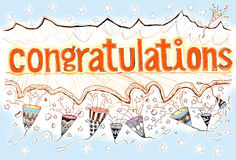 Congratulation pull output paper stars Stock Photo