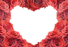 Congratulation's card with red roses. And white heart Stock Photography