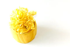 Congratulation time with yellow lovely wedding gift. Box stock photo
