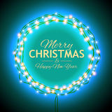 Congratulation to Christmas with blue lights Stock Photo