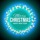 Congratulation to Christmas with blue lights Stock Photos