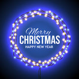 Congratulation to Christmas with blue lights Royalty Free Stock Photo