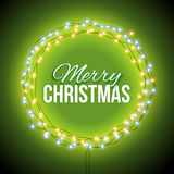 Congratulation to Christmas with green lights Royalty Free Stock Images