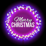 Congratulation to Christmas with purple lights Royalty Free Stock Images