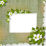 Congratulation to the holiday with flowers Stock Photo