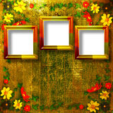 Congratulation to the holiday with frames. Congratulation to the holiday with frame and yellow flowers Stock Images