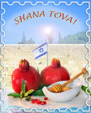 Congratulation to the holiday Rosh Hashanah, english Stock Image