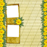 Congratulation to the holiday with slides. And yellow flowers Royalty Free Stock Images