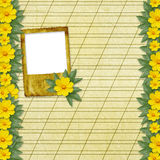 Congratulation to the holiday with slides. And yellow flowers Stock Image