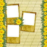 Congratulation to the holiday with slides. And yellow flowers Stock Photo