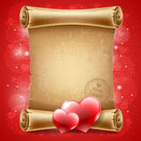 Congratulation on Valentines Day. On vintage scroll Stock Image