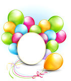 Balloons and a round frame Stock Image