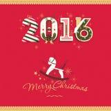 Congratulation vector merry christmas card 2016. Congratulation vector christmas card with toy horse 2016 Stock Image