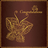 Congratulation vintage card with butterfly Stock Photo