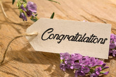 Congratulation. Word written on a Looking card on wood Stock Photos