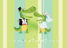Congratulations. Crocodile's wedding day with lovely apple green simple background royalty free illustration