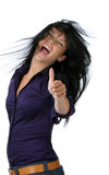 Congratulations. Of a young woman laughing successful Royalty Free Stock Photography
