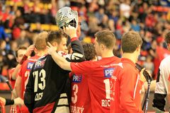 Congratulations afret win in floorball Royalty Free Stock Photos