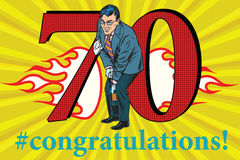 Congratulations 70 anniversary event celebration. Congratulations to the 70 anniversary event celebration. Happy man opens a bottle of champagne. Vintage pop art Royalty Free Stock Image