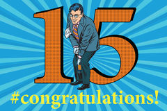 Congratulations 15 anniversary event celebration. Congratulations to the 15 anniversary event celebration. Happy man opens a bottle of champagne. Vintage pop art Stock Photography
