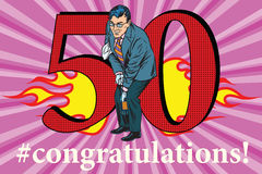 Congratulations 50 anniversary event celebration. Congratulations to the 50 anniversary event celebration. Happy man opens a bottle of champagne. Vintage pop art Royalty Free Stock Image