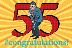 Congratulations 55 anniversary event celebration. Congratulations to the 55 anniversary event celebration. Happy man opens a bottle of champagne. Vintage pop art Royalty Free Stock Photography