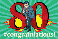 Congratulations 80 anniversary event celebration. Congratulations to the 80 anniversary event celebration. Happy man opens a bottle of champagne. Vintage pop art Stock Image