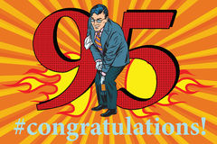 Congratulations 95 anniversary event celebration. Congratulations to the 95 anniversary event celebration. Happy man opens a bottle of champagne. Vintage pop art Royalty Free Stock Photography