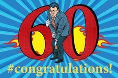 Congratulations 60 anniversary event celebration. Congratulations to the 60 anniversary event celebration. Happy man opens a bottle of champagne. Vintage pop art Stock Photos