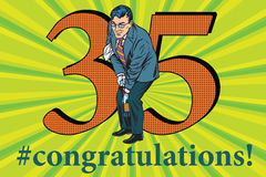 Congratulations 35 anniversary event celebration. Congratulations to the 35 anniversary event celebration. Happy man opens a bottle of champagne. Vintage pop art Stock Images