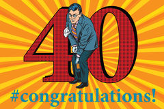 Congratulations 40 anniversary event celebration. Congratulations to the 40 anniversary event celebration. Happy man opens a bottle of champagne. Vintage pop art Royalty Free Stock Photography