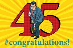 Congratulations 45 anniversary event celebration. Congratulations to the 45 anniversary event celebration. Happy man opens a bottle of wine. Vintage pop art Stock Photo