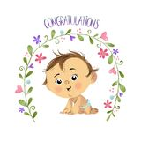 Congratulations with baby boy. Greeteng card on baby birth, cute sweet baby in diaper with flowers and congratulations on a white bacground. could be used as a stock illustration