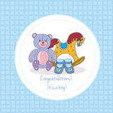 Congratulations.Baby shower. Illustration with baby boy toys vector illustration