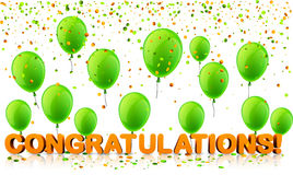 Congratulations background with balloons and confetti. Royalty Free Stock Images