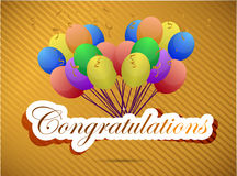 Congratulations balloon card. illustration design Stock Images