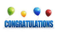 Congratulations Balloons 3D Background Stock Photo