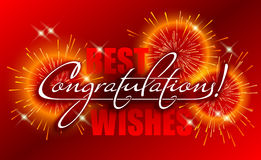 Congratulations banner, Best wishes card with calligraphic handwritten lettering and firework. Congratulations banner, Best wishes card with calligraphic Stock Photos