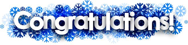 Congratulations banner with blue snowflakes. Royalty Free Stock Image