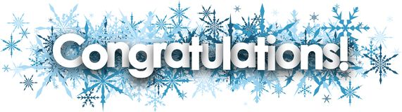 Congratulations banner with blue snowflakes. White congratulations banner with blue snowflakes. Vector illustration Stock Photography