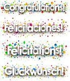 Congratulations banner with colorful confetti. Congratulations paper banner with colorful confetti, Spanish, French, German. Vector illustration Stock Image