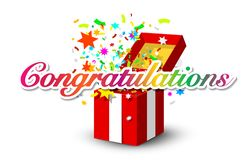Congratulations Banner with Colorful Confetti. And Open Paper Gift Box Isolated on White Background stock illustration